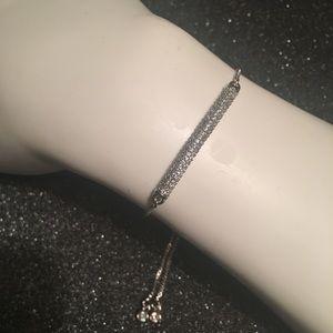 Silver Plated Pave CZ Bar Adjustable Bracelet